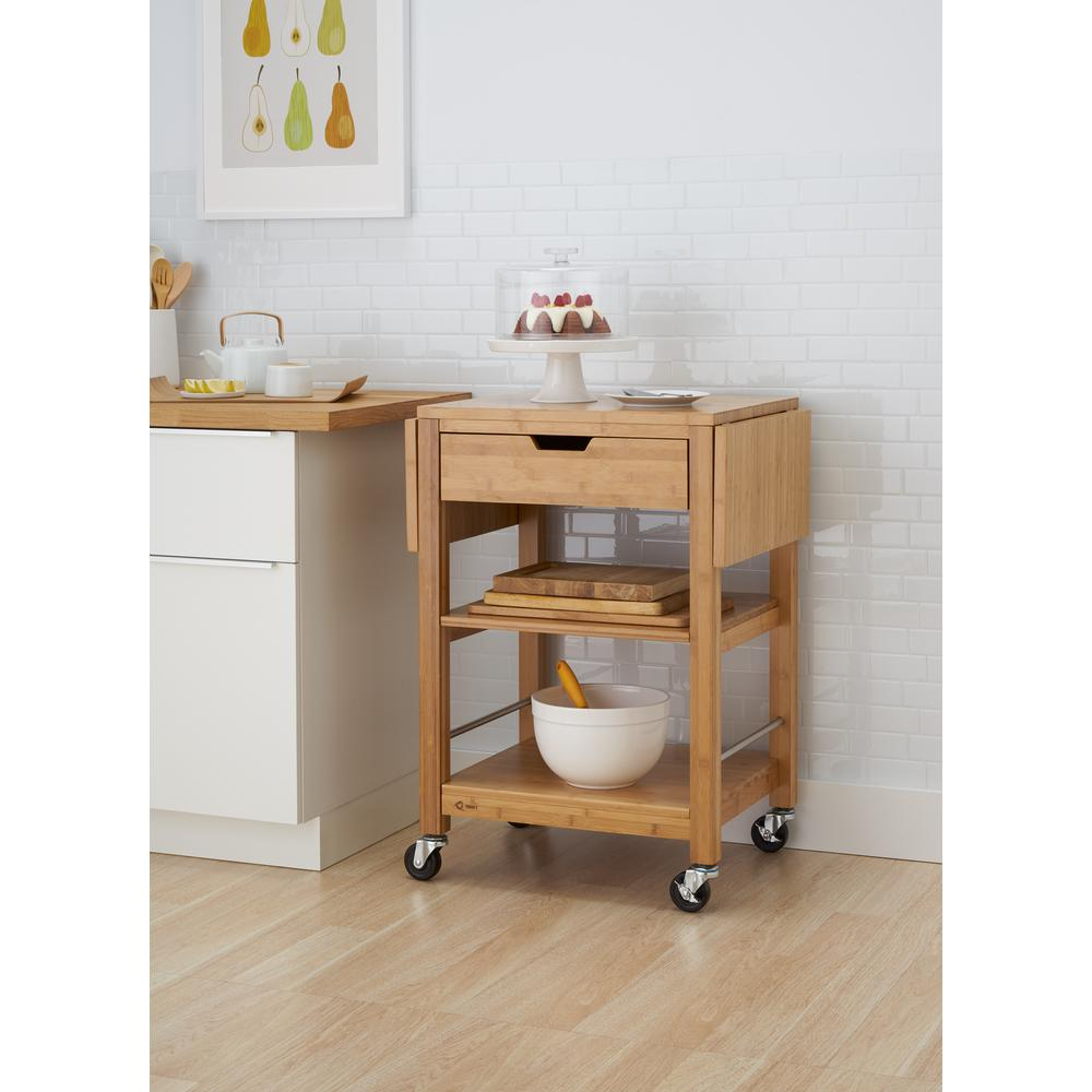 Charmant Bamboo Kitchen Cart With Drop Leaf