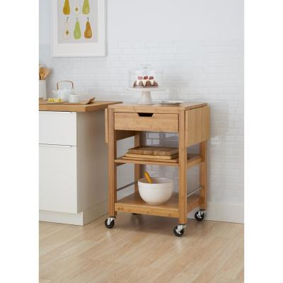 24 in. Bamboo Kitchen Cart with Drop Leaf