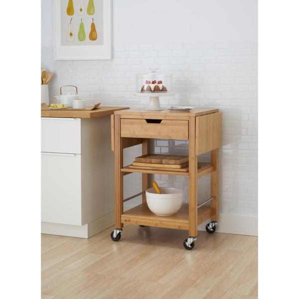 Bamboo Kitchen Cart With Drop Leaf