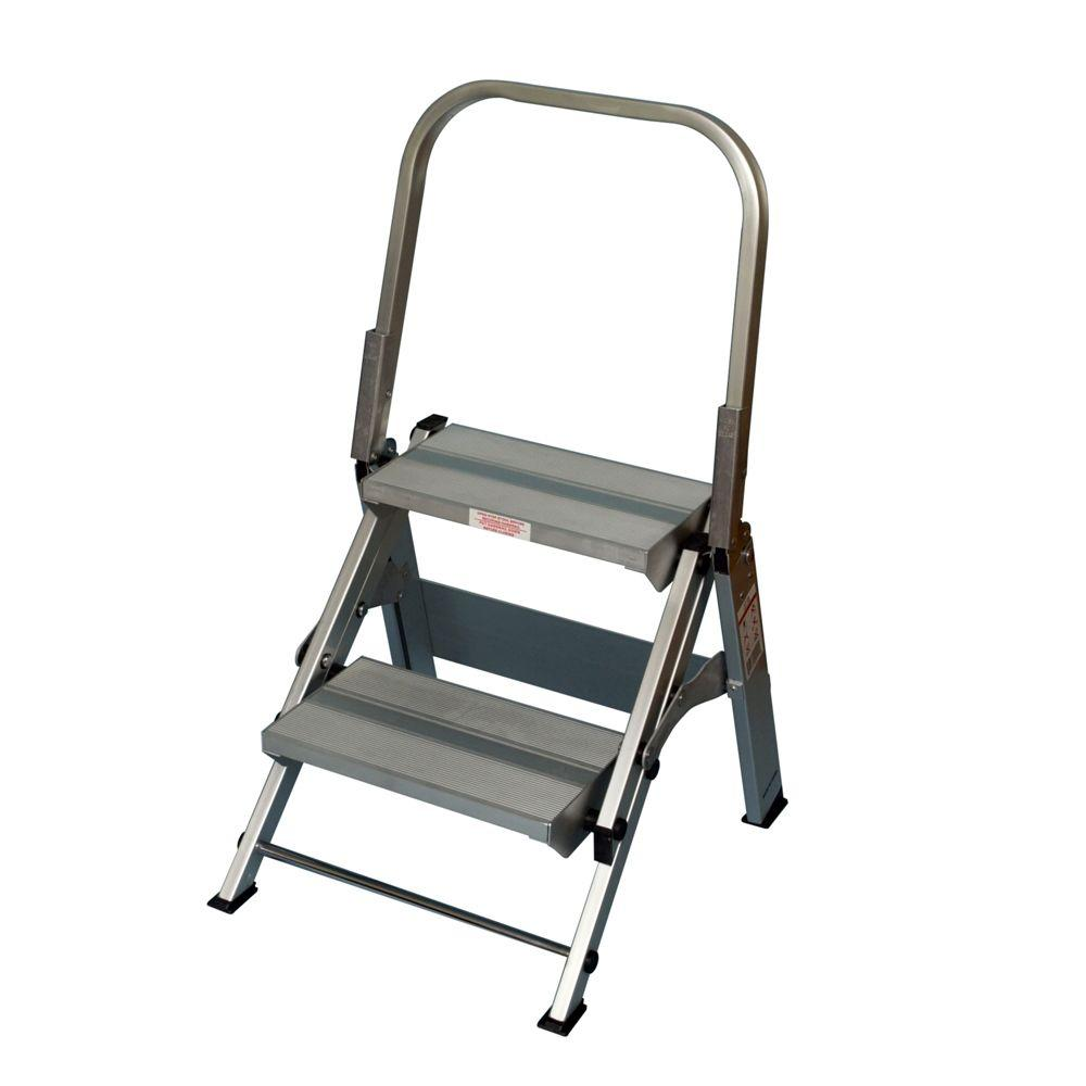 Xtend & Climb 2-Step Aluminum Step Stool with 375 lb. Load Capacity Type IAA Duty Rating