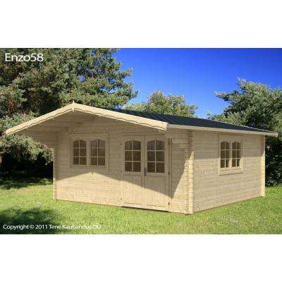 Enzo 13 ft. 1 in. x 16 ft. 4 in. Wood Log Garden Hobby Workshop Office Storage Building Kit