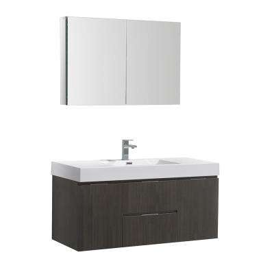 Valencia 48 in. W Wall Hung Vanity in Gray Oak with Acrylic Vanity Top in White with White Basin,Medicine Cabinet