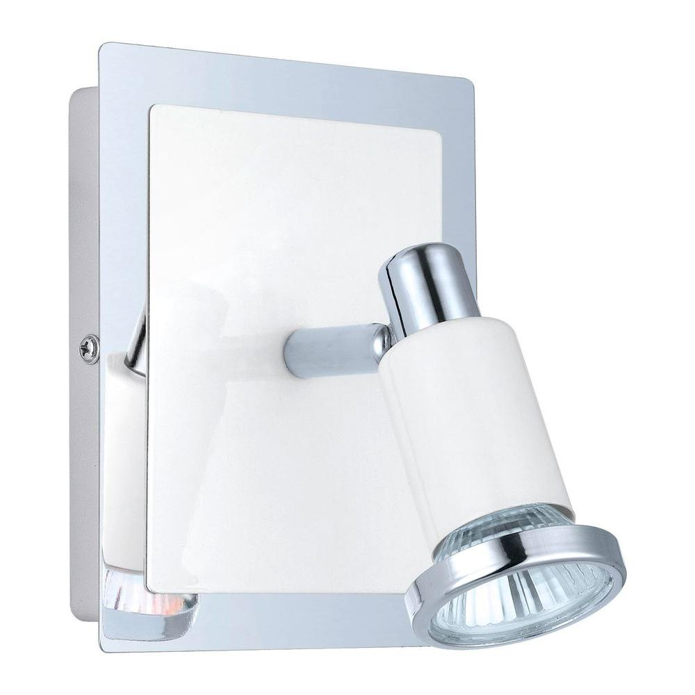 EGLO Eridan 1-Light Chrome and Glossy White Surface Mount Wall Light ...