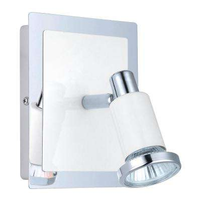 Eridan 1-Light Chrome and Glossy White Surface Mount Wall Light with On/Off Switch