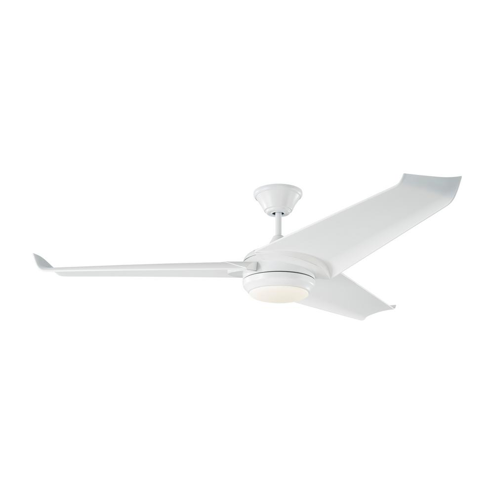 Orville 60 in. Integrated LED Indoor/Outdoor Matte White Ceiling Fan with White Blades and Remote Control