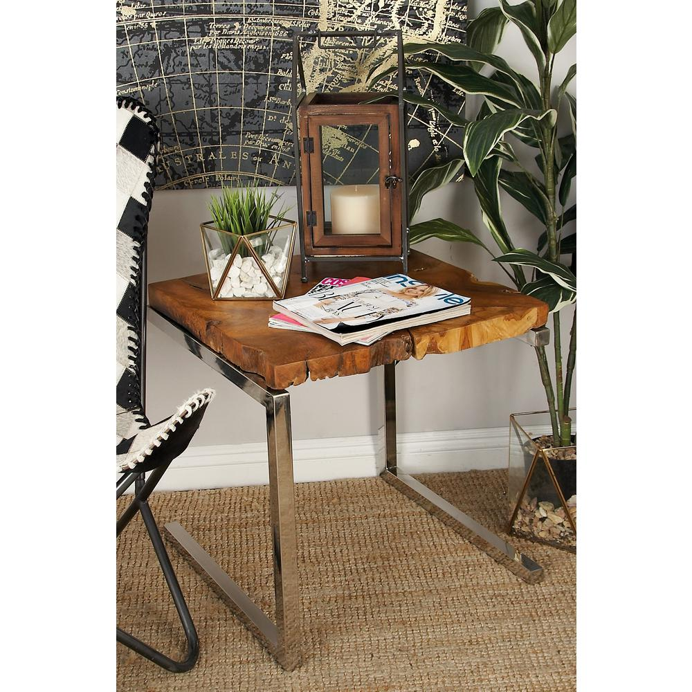 Brown Square Teak Wood Accent Table