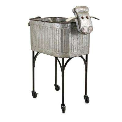 30 in. Dia Gray and Black Galvanized Lamb Style Metal Crafted Planter with Stand