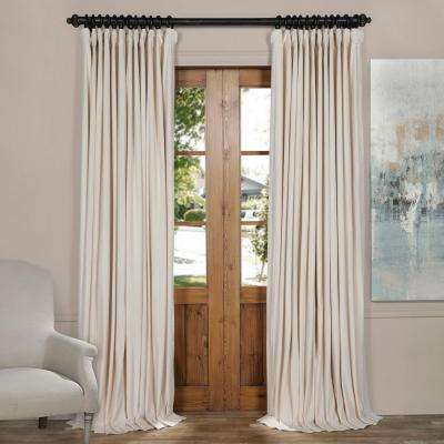 Blackout Signature Ivory Doublewide Velvet Curtain 100 In W X 84