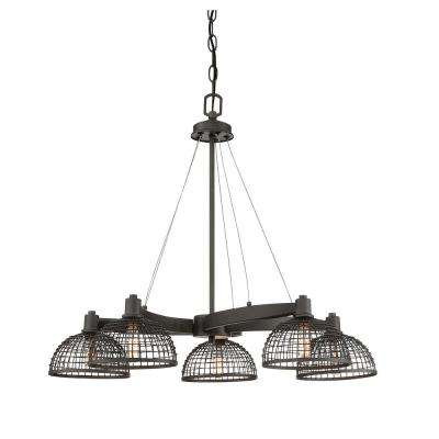 5-Light Remington Bronze Chandelier with Metal Mesh Shade