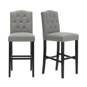 Beckridge Ebony Wood Upholstered Bar Stool with Back and Charcoal Seat (Set of 2) (18.11 in. W x 46.06 in. H)