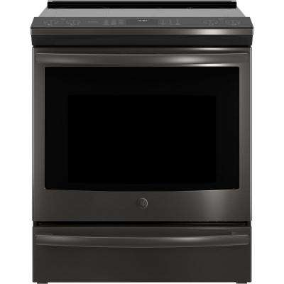 5.3 cu. ft. Slide-In Smart Electric Range with Self-Cleaning Convection Oven in Black Stainless Steel