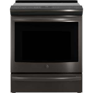 GE Profile 5.3 cu. ft. Slide-In Smart Electric Range with Self-Cleaning Convection Oven in Black Stainless Steel by GE