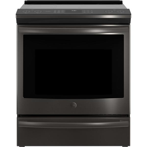 Profile 5.3 cu. ft. Smart Slide-In Induction Range with Self-Cleaning Convection Oven in Black Stainless Steel