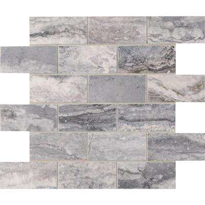 Pietra Bernini Carbone 12 in. x 12 in. x 10mm Polished Porcelain Mesh-Mounted Mosaic Tile (8 sq. ft. / case)