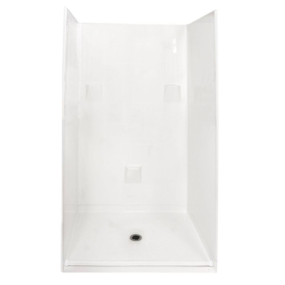 Ella Standard 37 in. x 48 in. x 78 in. Barrier Free Roll-In Shower Kit in White with Center Drain