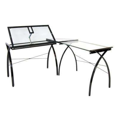 LS Craft Black/Clear Glass Corner Work Table Metal and Glass with Angle Adjustable Top