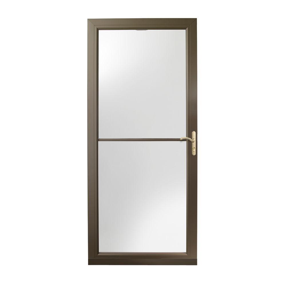 Andersen 36 in. x 80 in. 3000 Series Terratone Right-Hand Self-Storing Easy Install Aluminum Storm Door with Brass Hardware