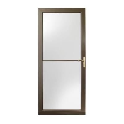 36 in. x 80 in. 3000 Series Terratone Right-Hand Self-Storing Easy Install Aluminum Storm Door with Brass Hardware