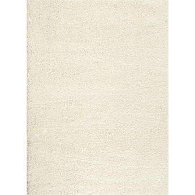 Soft Cozy Solid White 5 ft. x 7 ft. Indoor Shag Area Rug