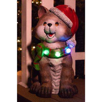 21 In Cat Wearing Santa Hat And Green Scarf Decor With 3 Led Lights