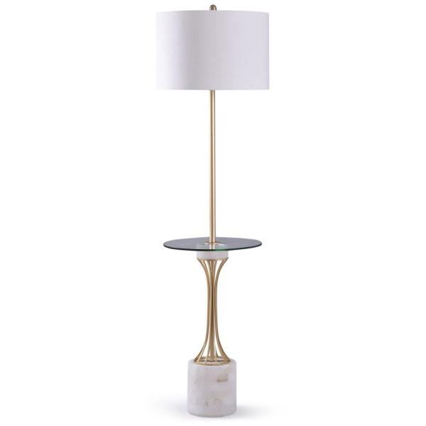 Abyaz 52 in. Polished Brass and White Marble With Clear Glass Floor Lamp