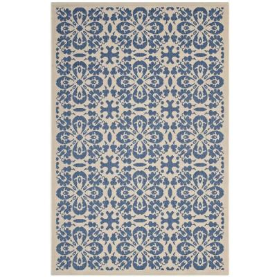 Ariana in Blue and Beige 5 ft. x 8 ft. Vintage Floral Trellis Indoor and Outdoor Area Rug