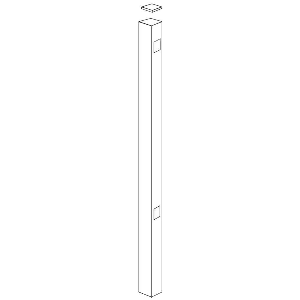 Allure Aluminum Metropolitan 2 in. x 2 in. x 70 in. Aluminum White Fence End/Gate Post-DISCONTINUED