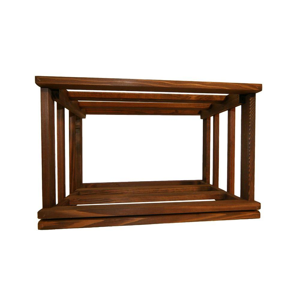 Mini Stack Series Open Bin Dark Walnut Stain Wine Rack 11 15/16