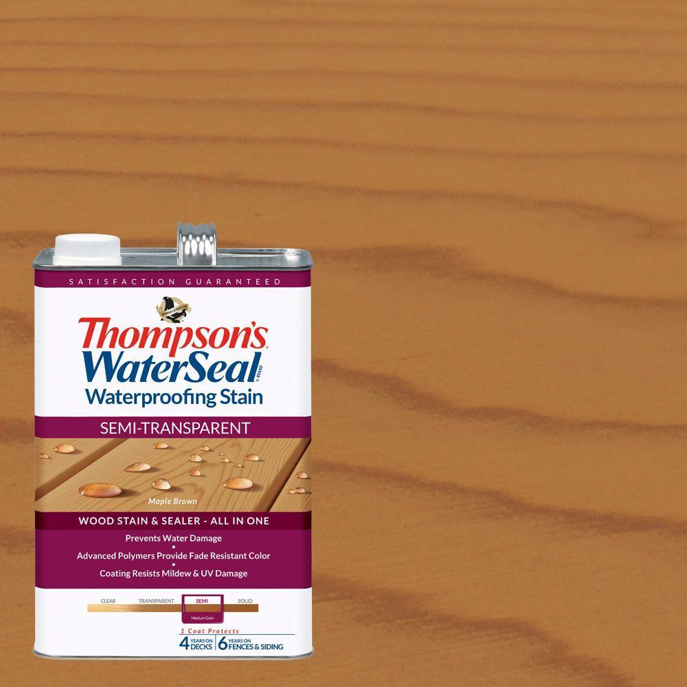 Thompson's WaterSeal 1 gal. Semi-Transparent Maple Brown Waterproofing Stain Exterior Wood