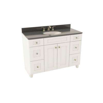 Reading 49 in. Vanity in Linen with Silestone Quartz Vanity Top in Marengo and Oval White Sink