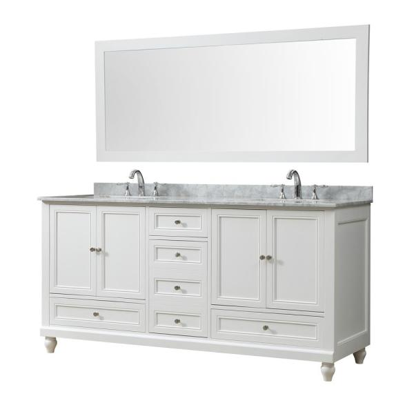 Classic 72 in. W Bath Vanity in White with Carrara White Marble Vanity Top with White Basins and Mirror