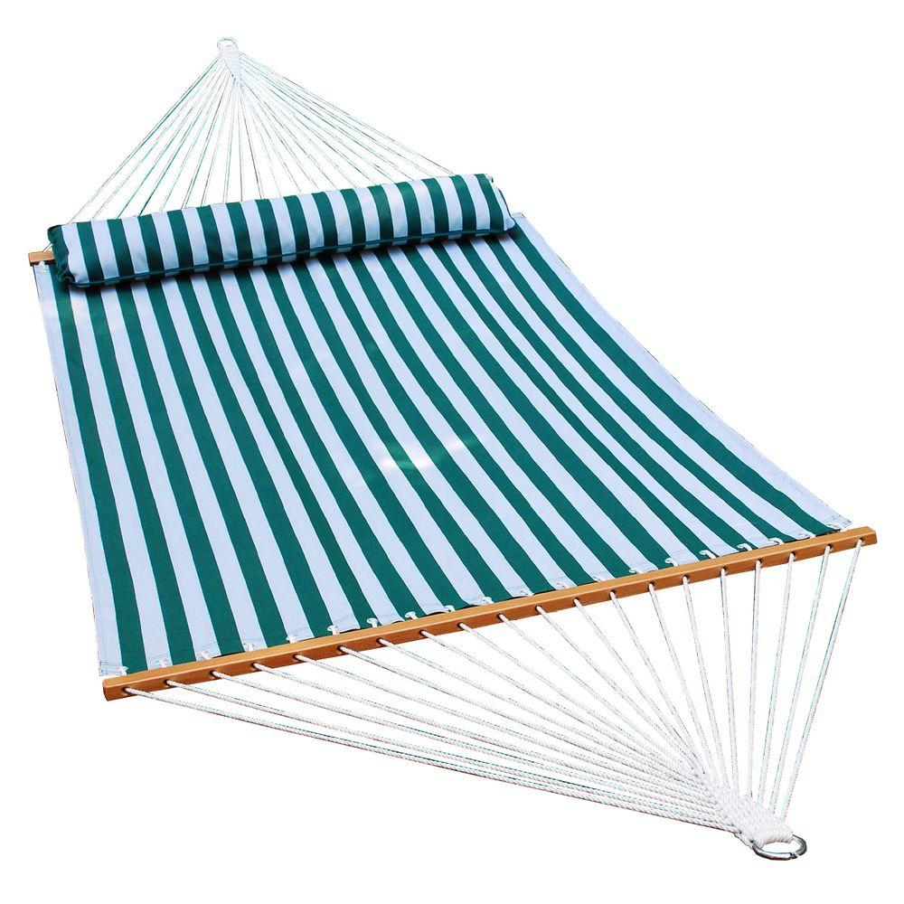 Polyester Swing Hammock In Dark Green And White Stripe