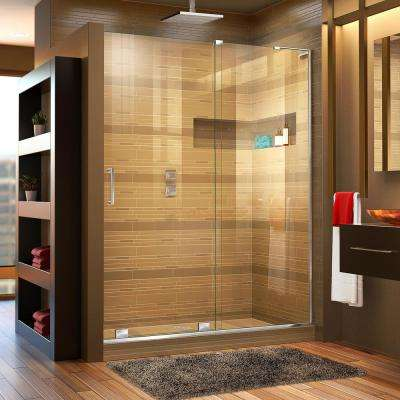 Mirage-X 56 in. to 60 in. x 72 in. Semi-Frameless Sliding Shower Door in Chrome