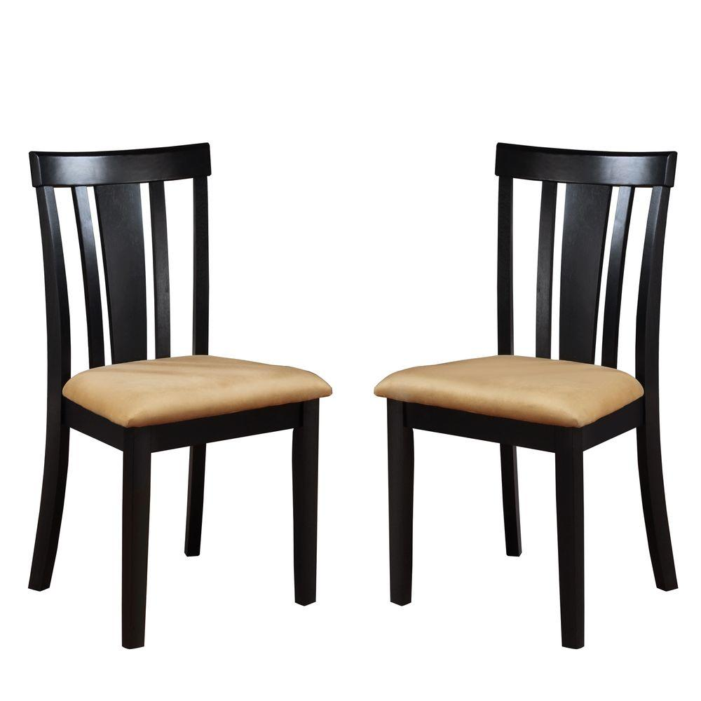 HomeSullivan Black Dining Chairs with Slat Back (Set of 2)-DISCONTINUED
