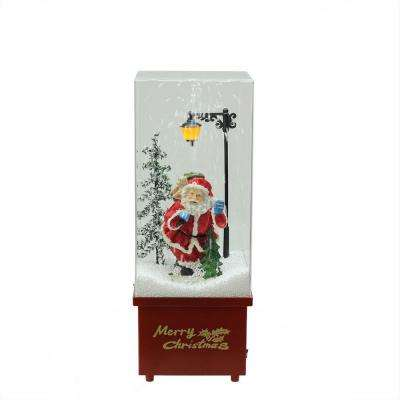 16.25 in. Lighted Musical Santa Claus Snowing Christmas Table Top Snow Dome