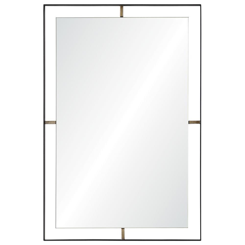Medium Rectangle Matte Black Modern Mirror (30.5 in. H x 20 in. W)