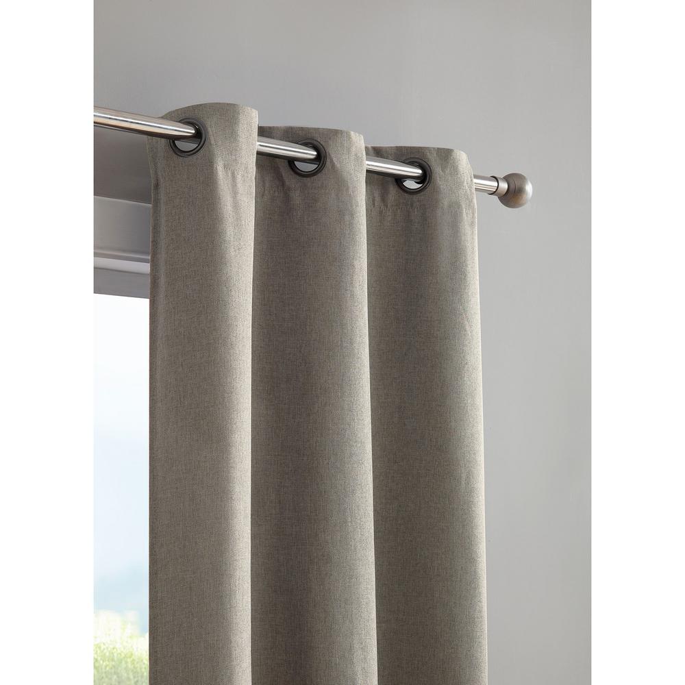 Henley Faux Linen Room Darkening 76 in. x 96 in. Grommet Curtain Panel Pair in Grey