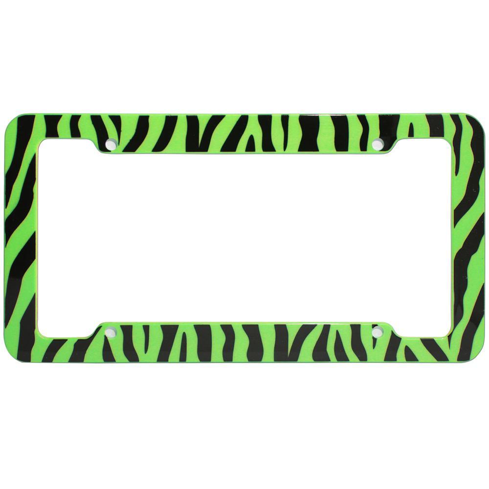 OxGord Zebra Green and Black License Plate Frame-LFPL-Z1-GN - The ...