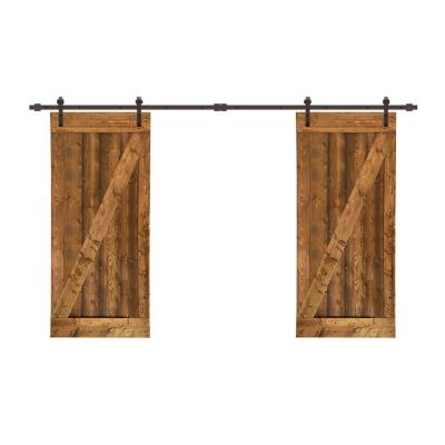 48 in. x 84 in. Z Bar Pre-Assembled Walnut Stained Wood Interior Double Sliding Barn Door with Hardware Kit