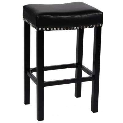 Tudor 26 in. Black Bonded Leather with Chrome Nailhead Accents Backless Stationary Barstool