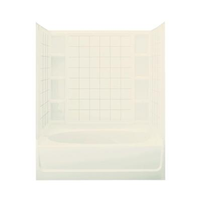 Ensemble 37-1/2 in. x 60 in. x 73-1/4 in. Bath and Shower Kit with Right-Hand Drain in Biscuit