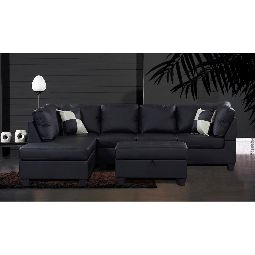 Linford Black Leatherette Sectional