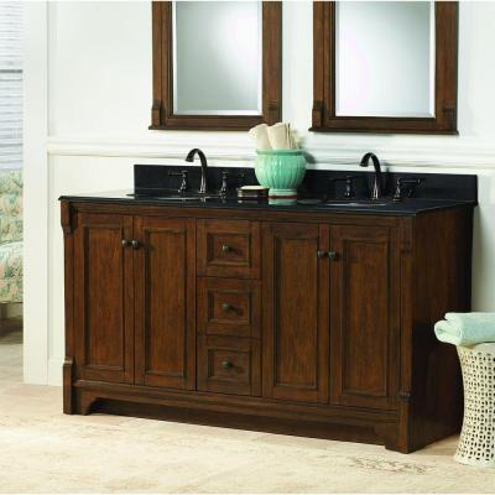 Creedmoor 60 in. W Bath Vanity Cabinet Only in Walnut
