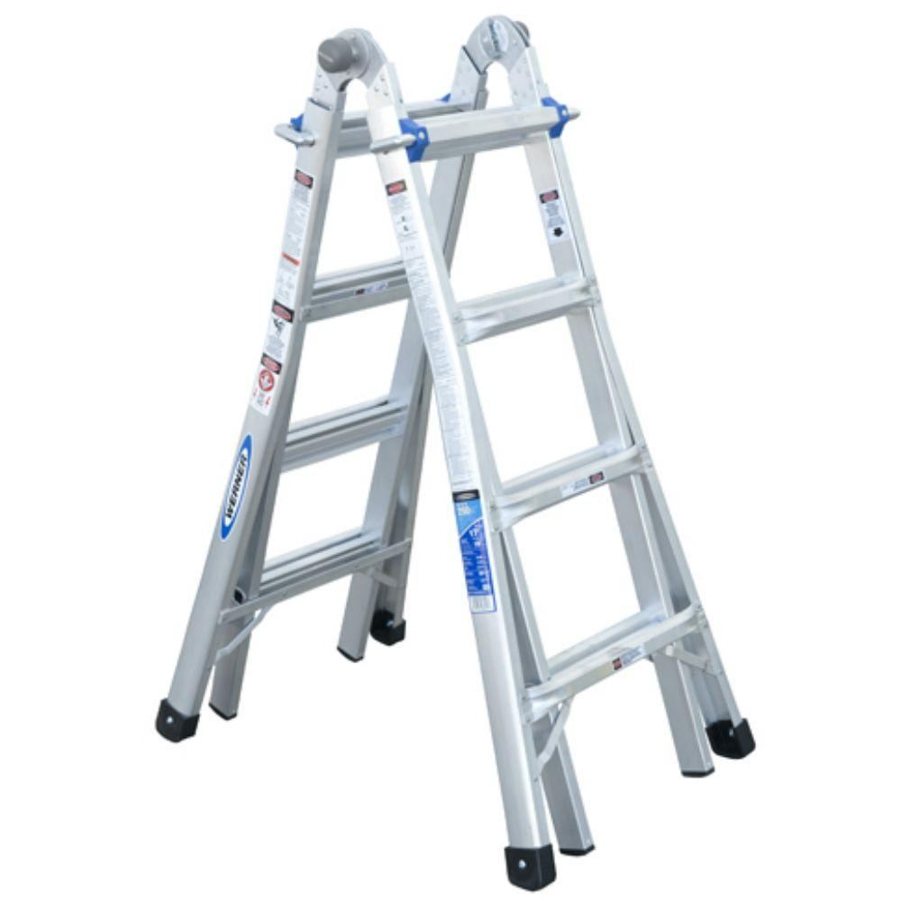 Werner 17 ft. Reach Aluminum Telescoping Multi-Position Ladder with ...