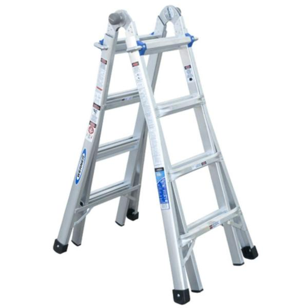 17 ft. Reach Aluminum Telescoping Multi-Position Ladder with 250 lb. Load Capacity Type I Duty Rating