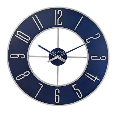 Modern Oversized 27 in. Wall Clock with Matte Silver Tone Metal Case