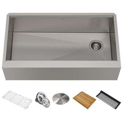 Kore Workstation Farmhouse/Apron-Front Stainless Steel 36 in. Single Bowl Kitchen Sink