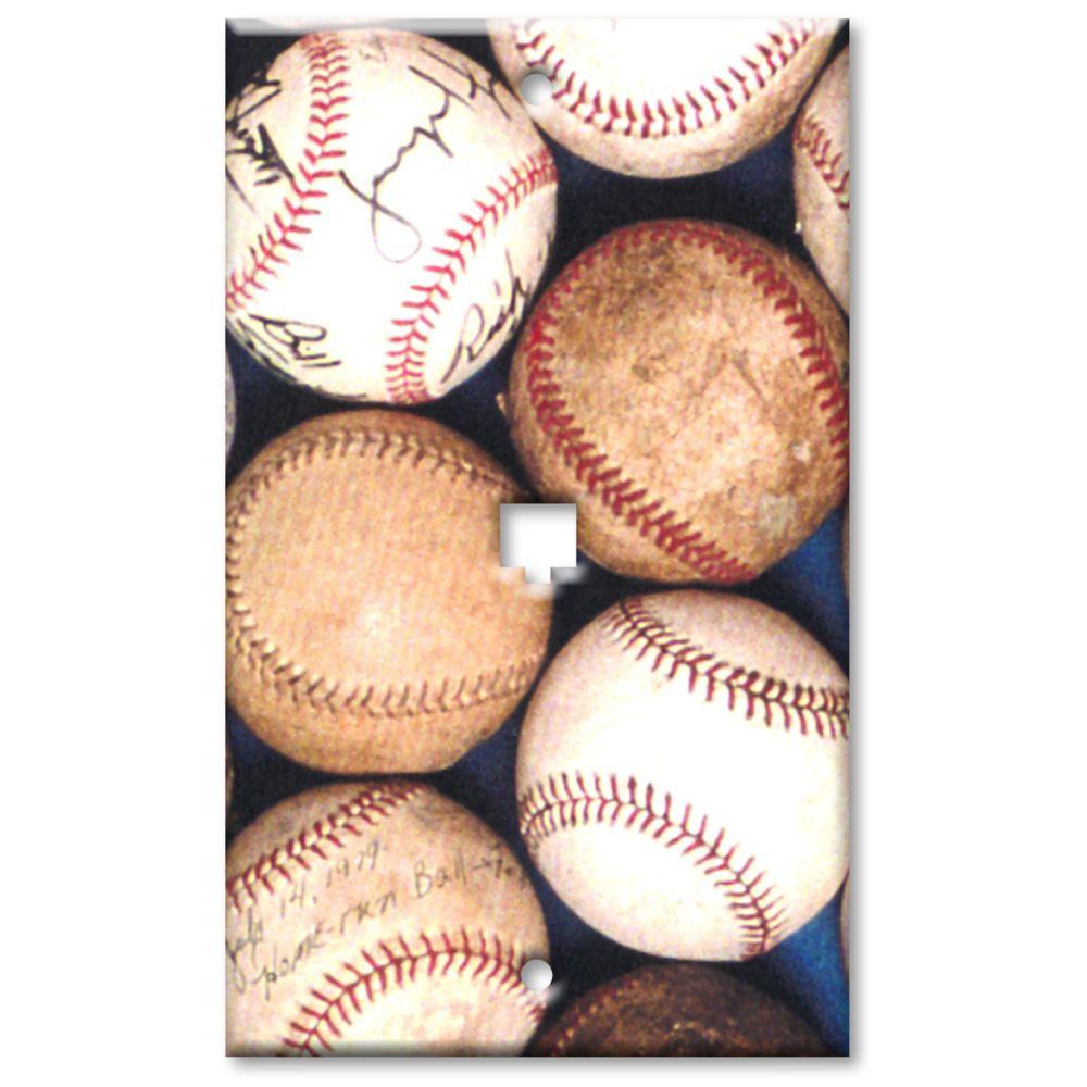 Art Plates Baseballs - Cat 5 Wall Plate
