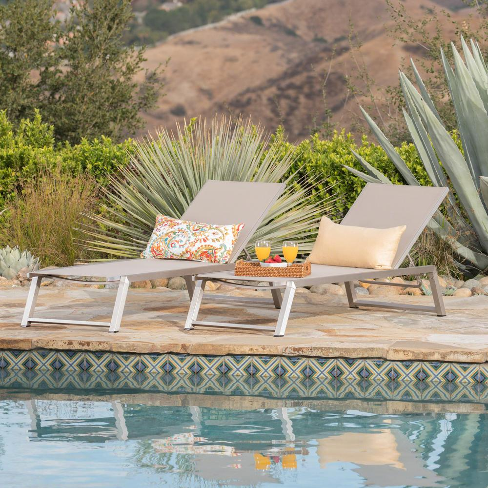 Noble House Gray 2-Piece Aluminum Outdoor Chaise Lounge Set