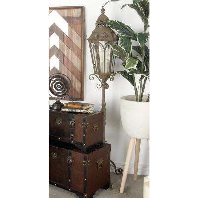 Rusted Brown Candle Holder Lantern with Stand